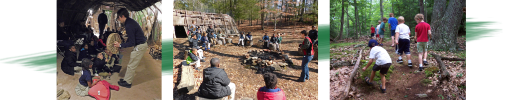 Three photos depicting parts of education programs including activities indoors and outdoors.